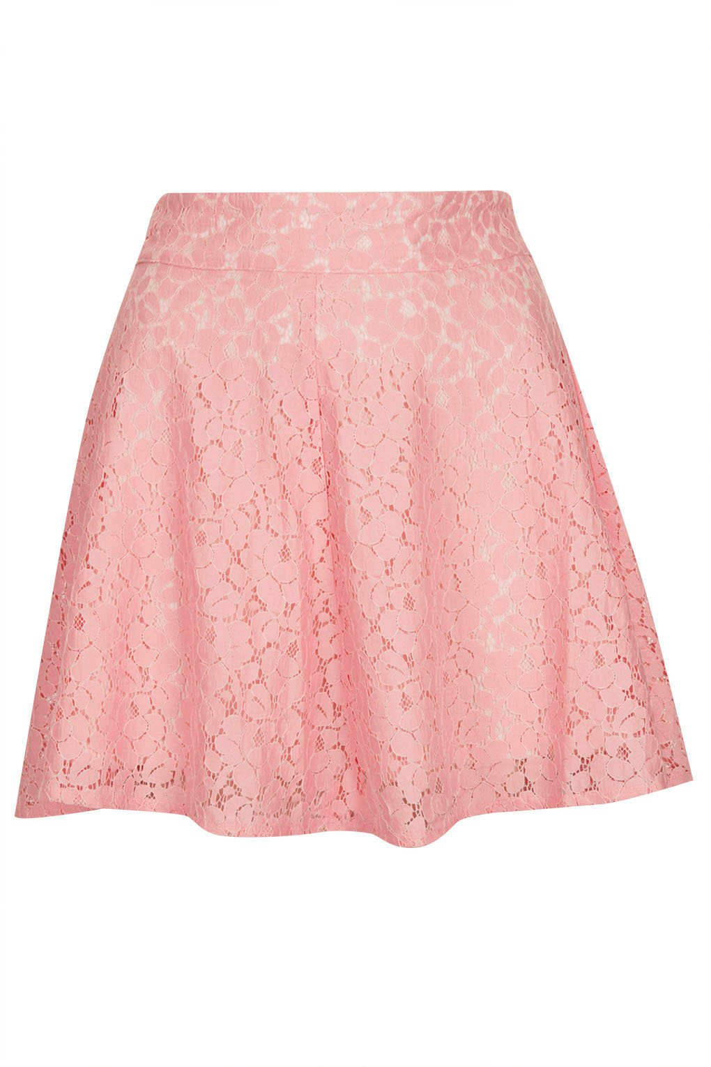Topshop Pink High Waist Lace Skater Skirt in Pink | Lyst