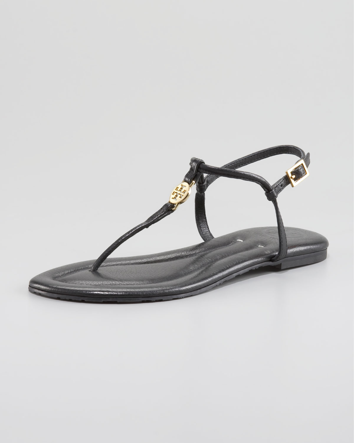 4ef725c3e66c02 Lyst - Tory Burch Emmy Logo Thong Sandals in Black