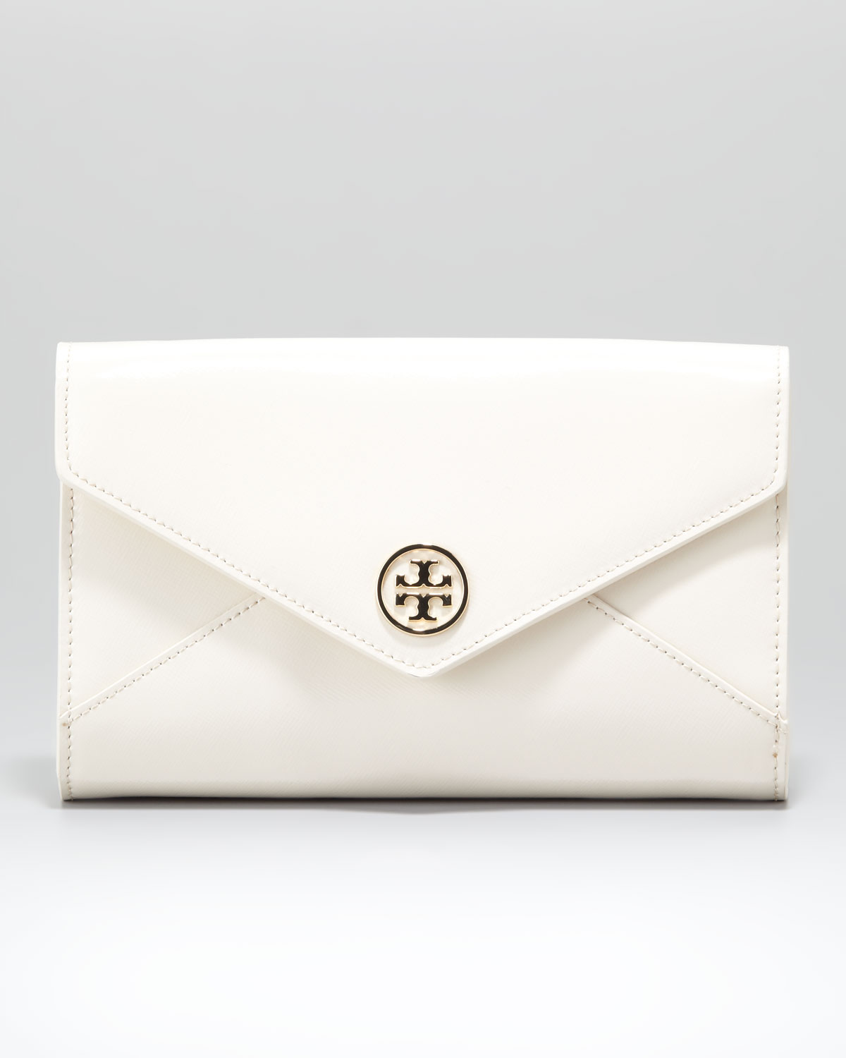 Tory burch Robinson Envelope Clutch Bag Small in White | Lyst