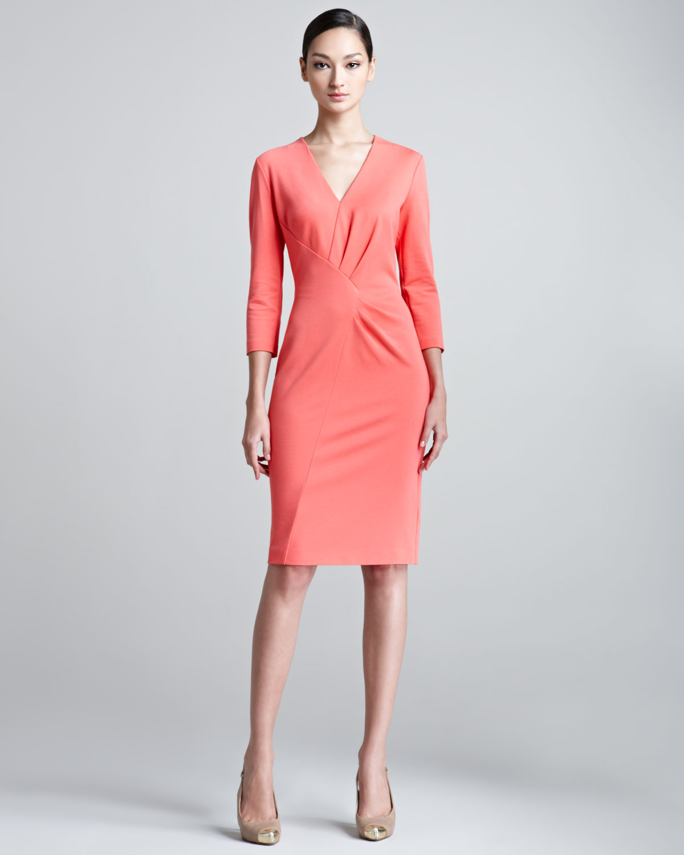 Lyst Escada Duoyan Dondi V Neck Jersey Dress In Pink