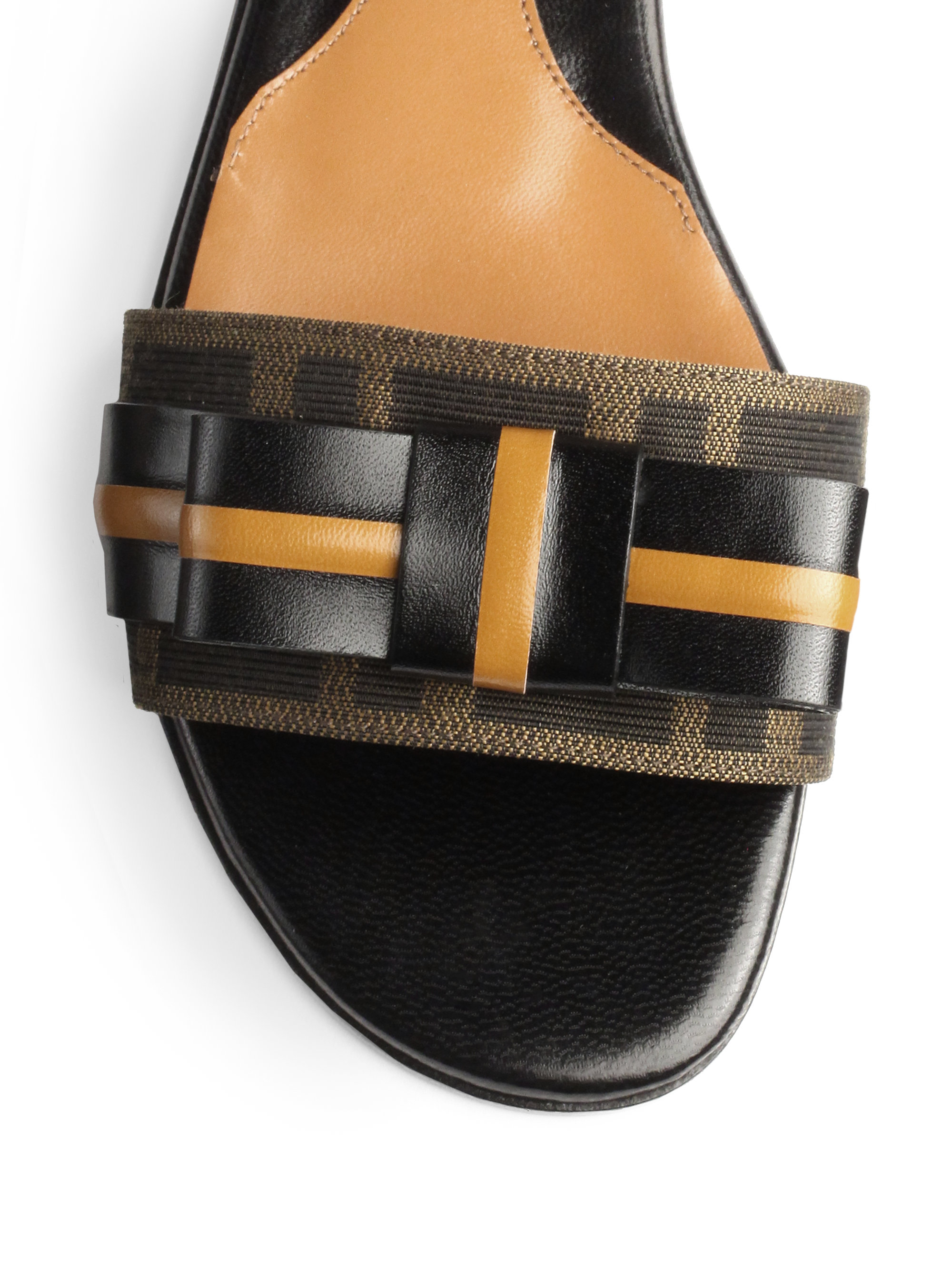 ab770bfeda20 Lyst - Fendi Leather Jacquard Canvas Slide Sandals in Black