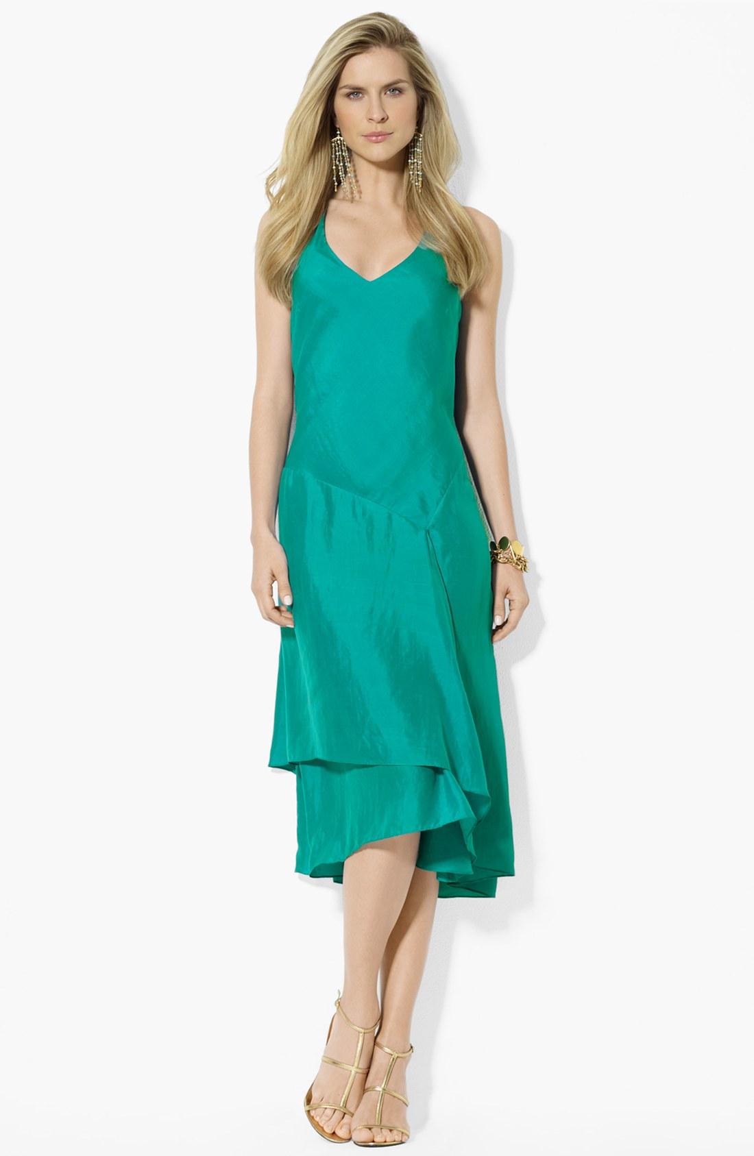 Lauren By Ralph Lauren Asymmetrical Silk Dress In Green