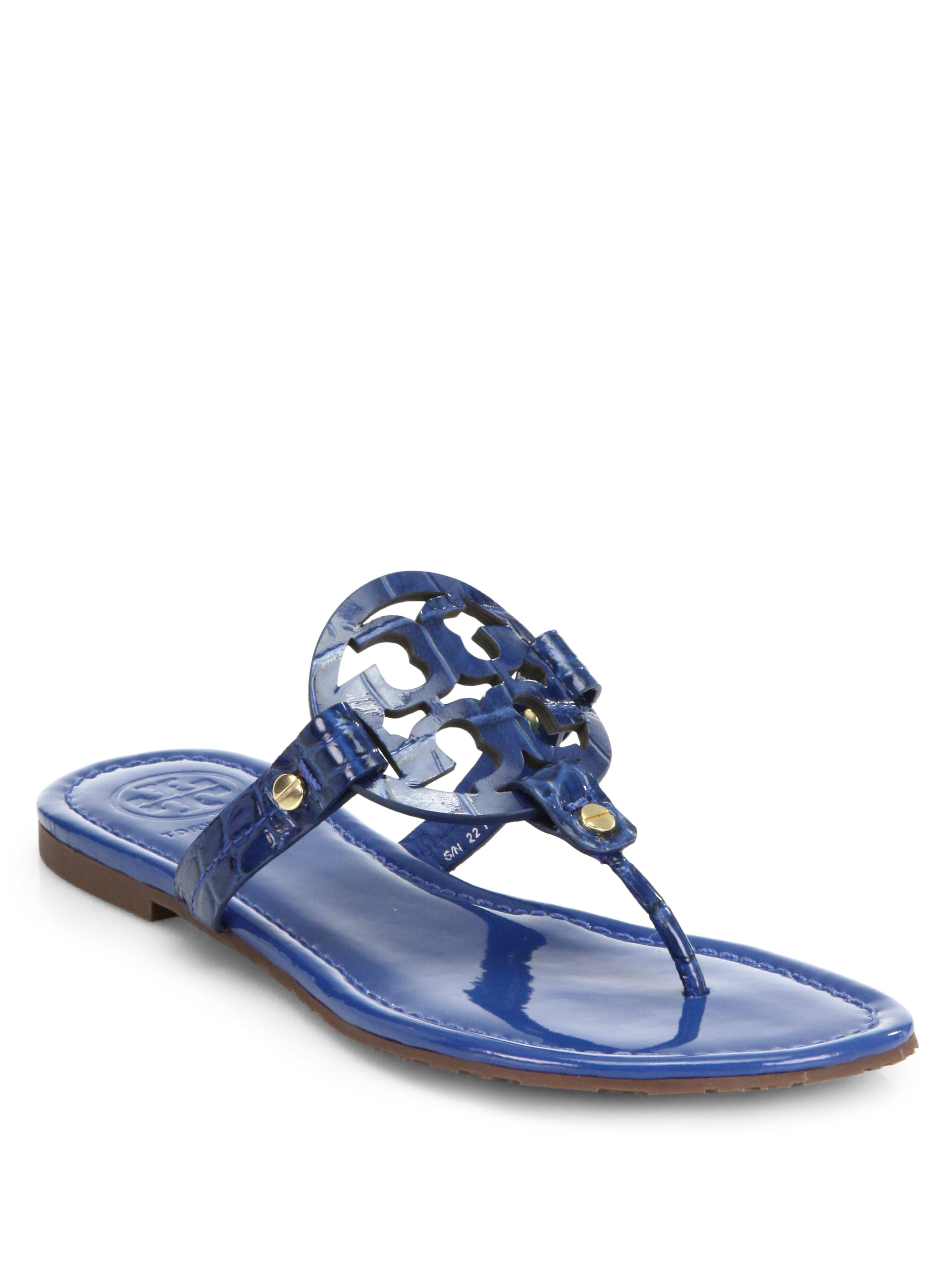 27e01432f740f Lyst - Tory Burch Miller Crocodileembossed Patent Leather Sandals in ...