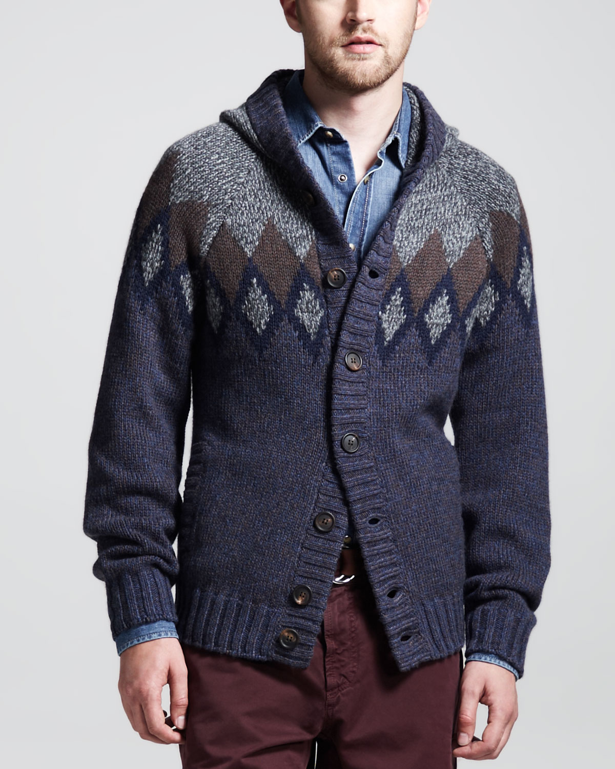 Brunello cucinelli 12ply Andes Hooded Cashmere Cardigan in Blue ...