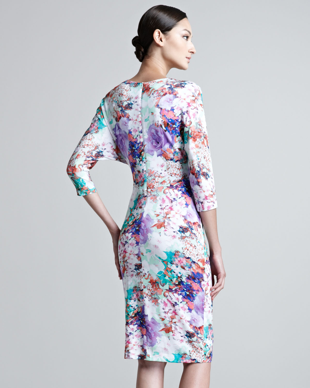 fe806a7e9037 Lyst - ESCADA Jersey Floral Print Dress in Purple