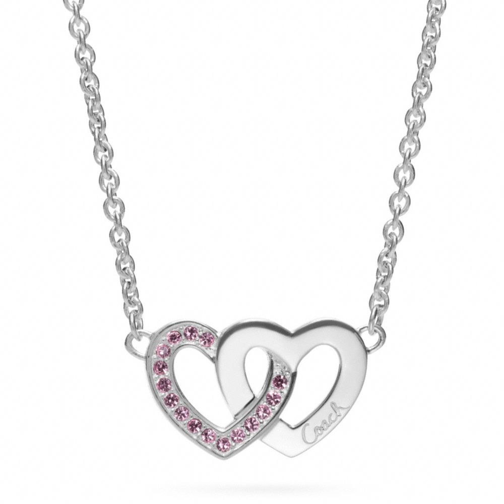 Lyst Coach Sterling Interlocking Heart Necklace In Metallic