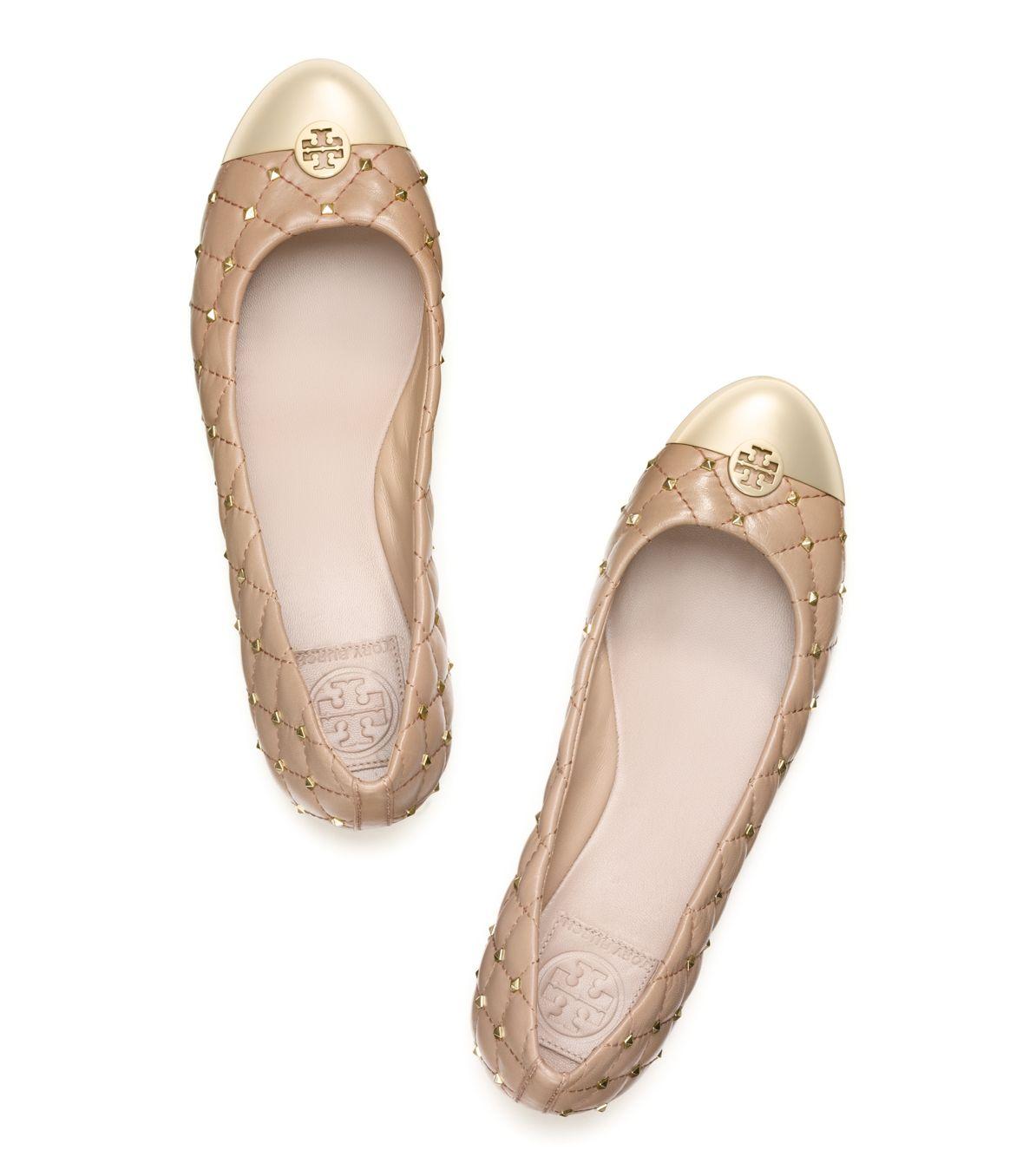88d8b8fb668 Lyst - Tory Burch Kaitlin Studded Ballet Flat in Natural