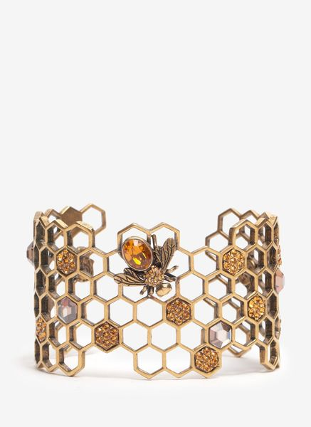 Alexander Mcqueen Honeycomb Bee Cuff Bracelet in Gold - Lyst