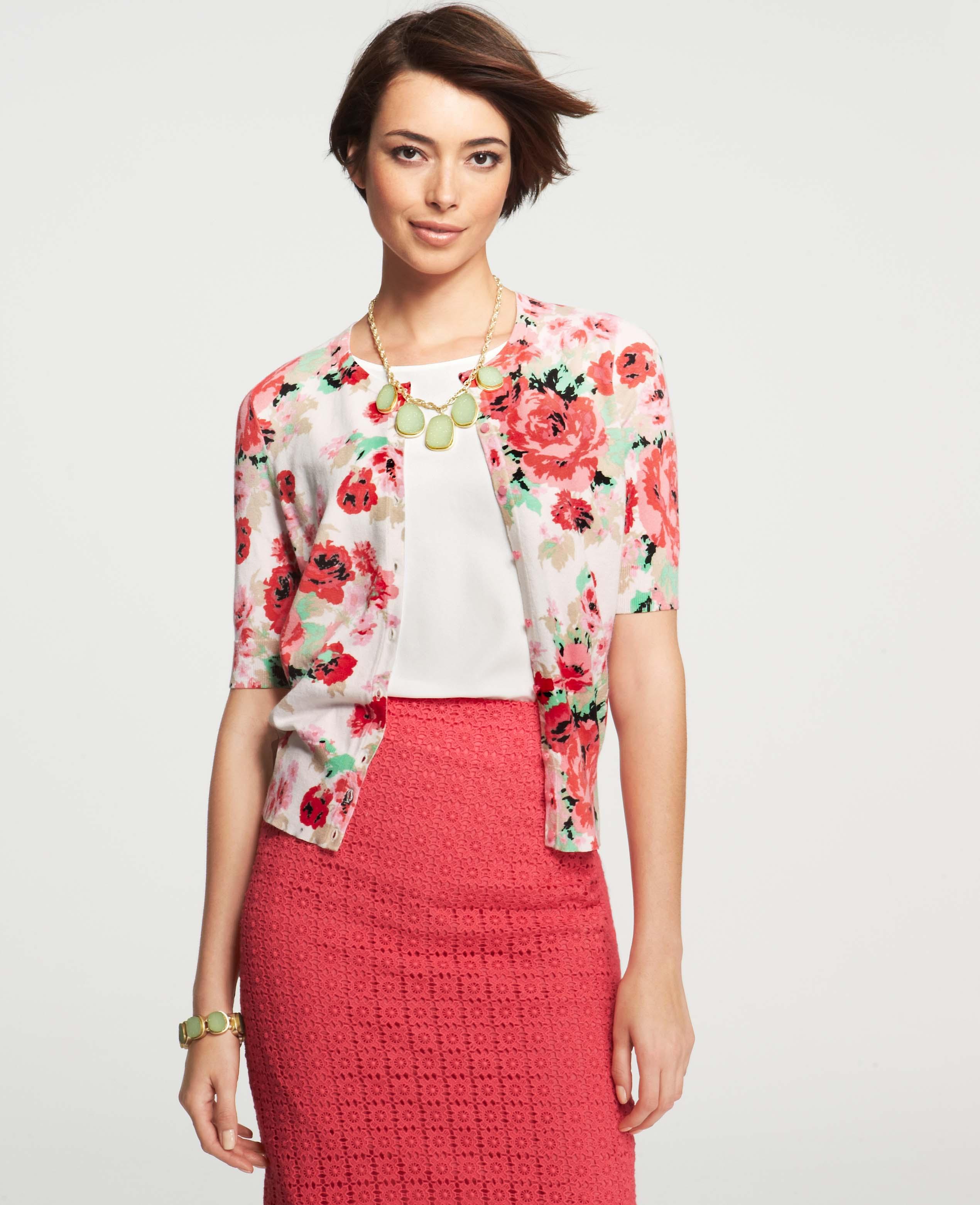 Ann taylor Floral Print Crew Neck Short Sleeve Cardigan | Lyst