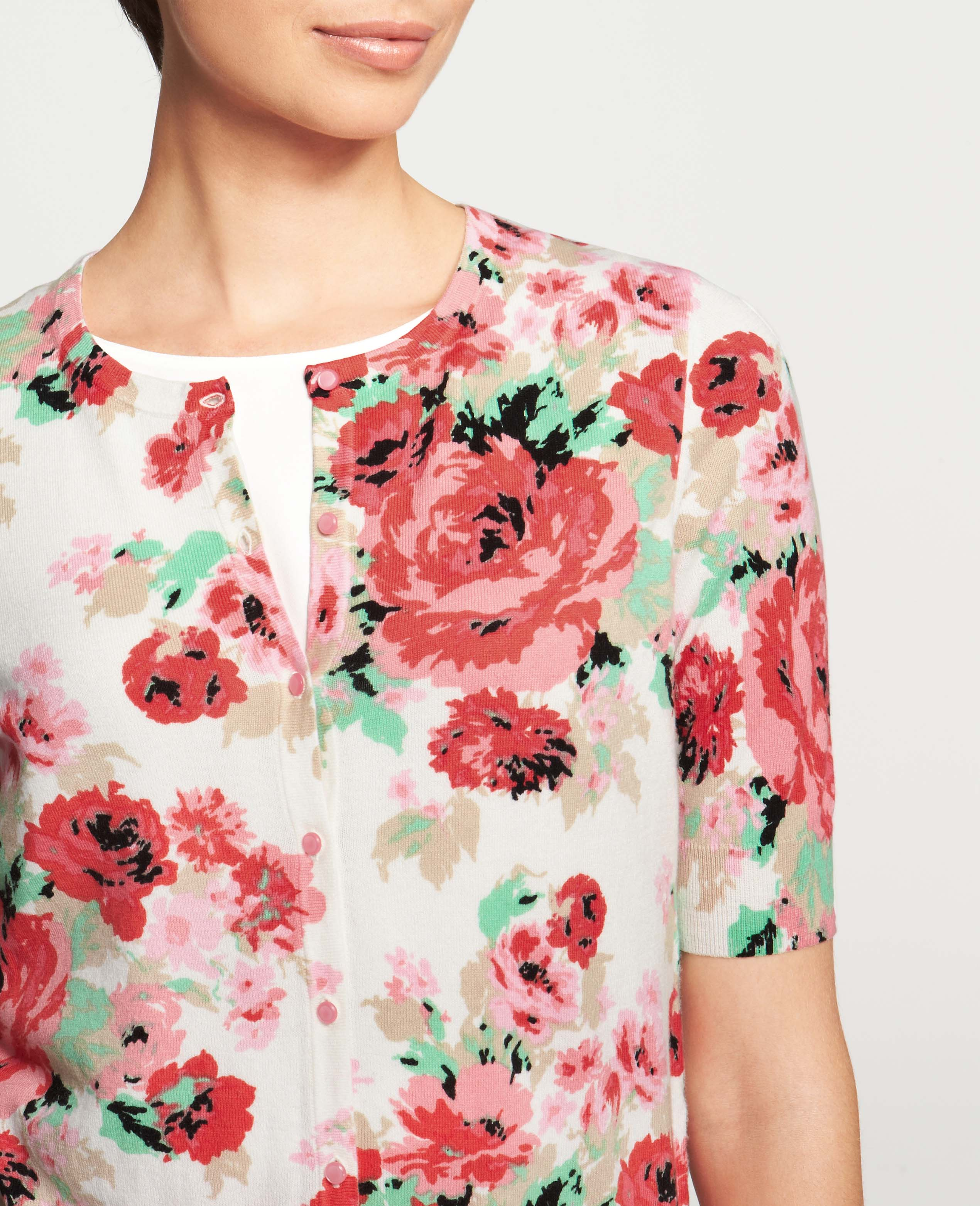 Ann taylor Floral Print Crew Neck Short Sleeve Cardigan   Lyst