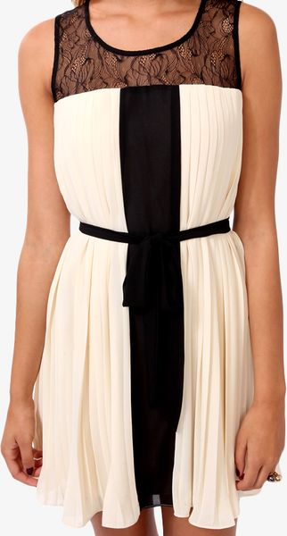 Forever 21 Lace Pleated Swing Dress In Beige Cream Black