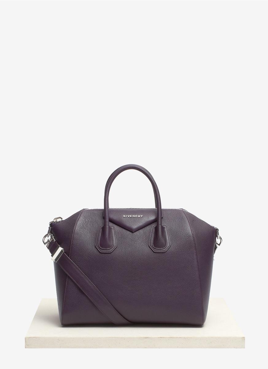 Lyst - Givenchy Antigona Medium Leather Satchel in Purple 4d1cd08b500d6