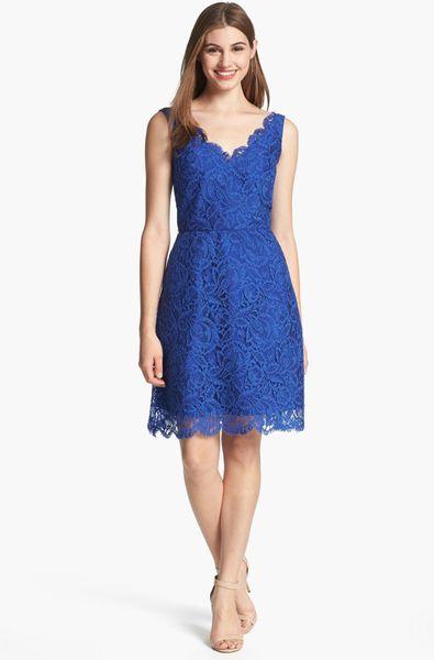 Ml Monique Lhuillier Lace Fit Flare Dress In Blue Cobalt