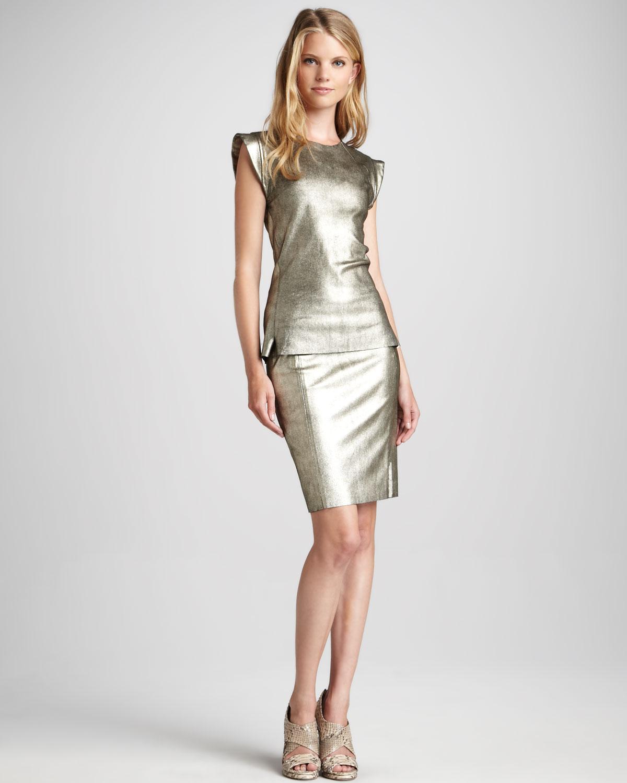 skaist metallic leather pencil skirt in metallic lyst