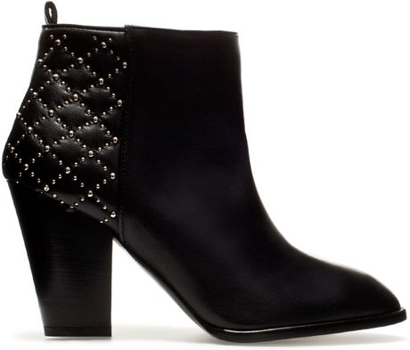 zara quilted high heel ankle boot in black lyst