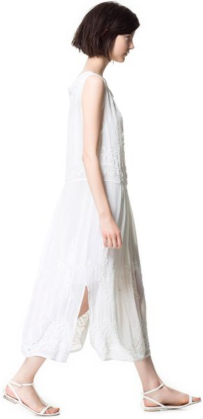 Zara embroidered dress with lace in white ecru lyst