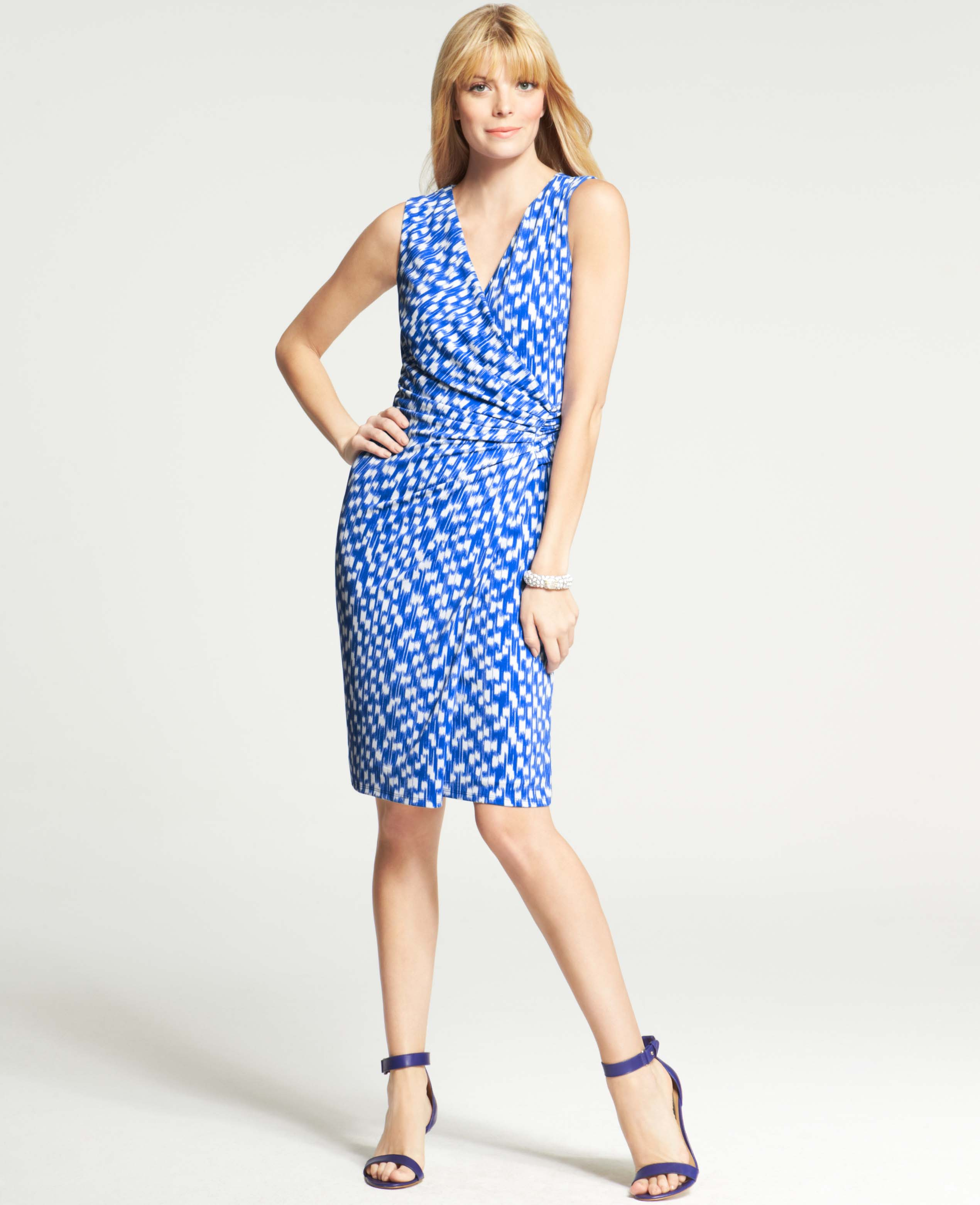 01aed34bc94 Ann Taylor Ikat Print Sleeveless Wrap Dress in Blue - Lyst