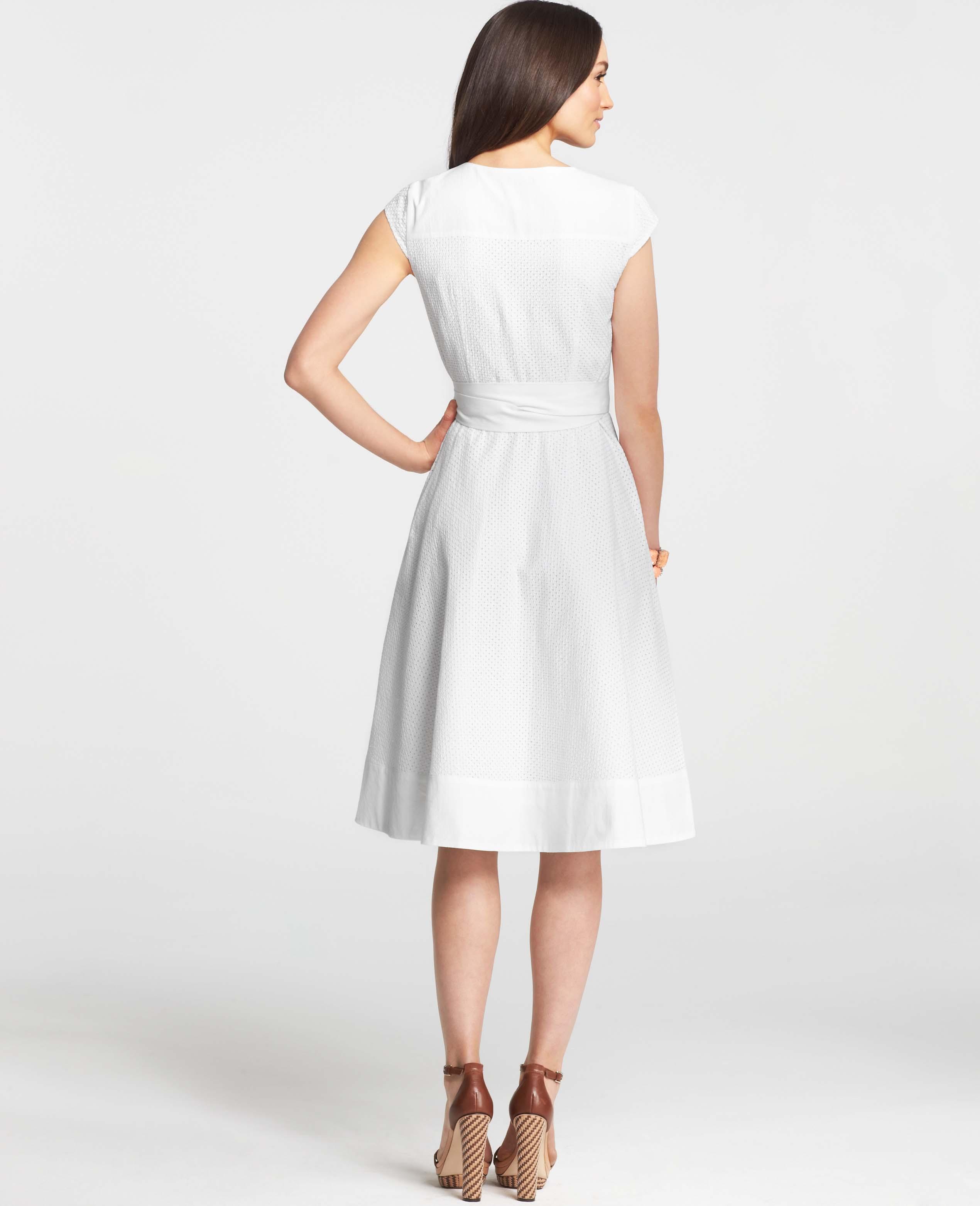 00c00a0d58e6 Lyst - Ann Taylor Cotton Eyelet Wrap Dress in White