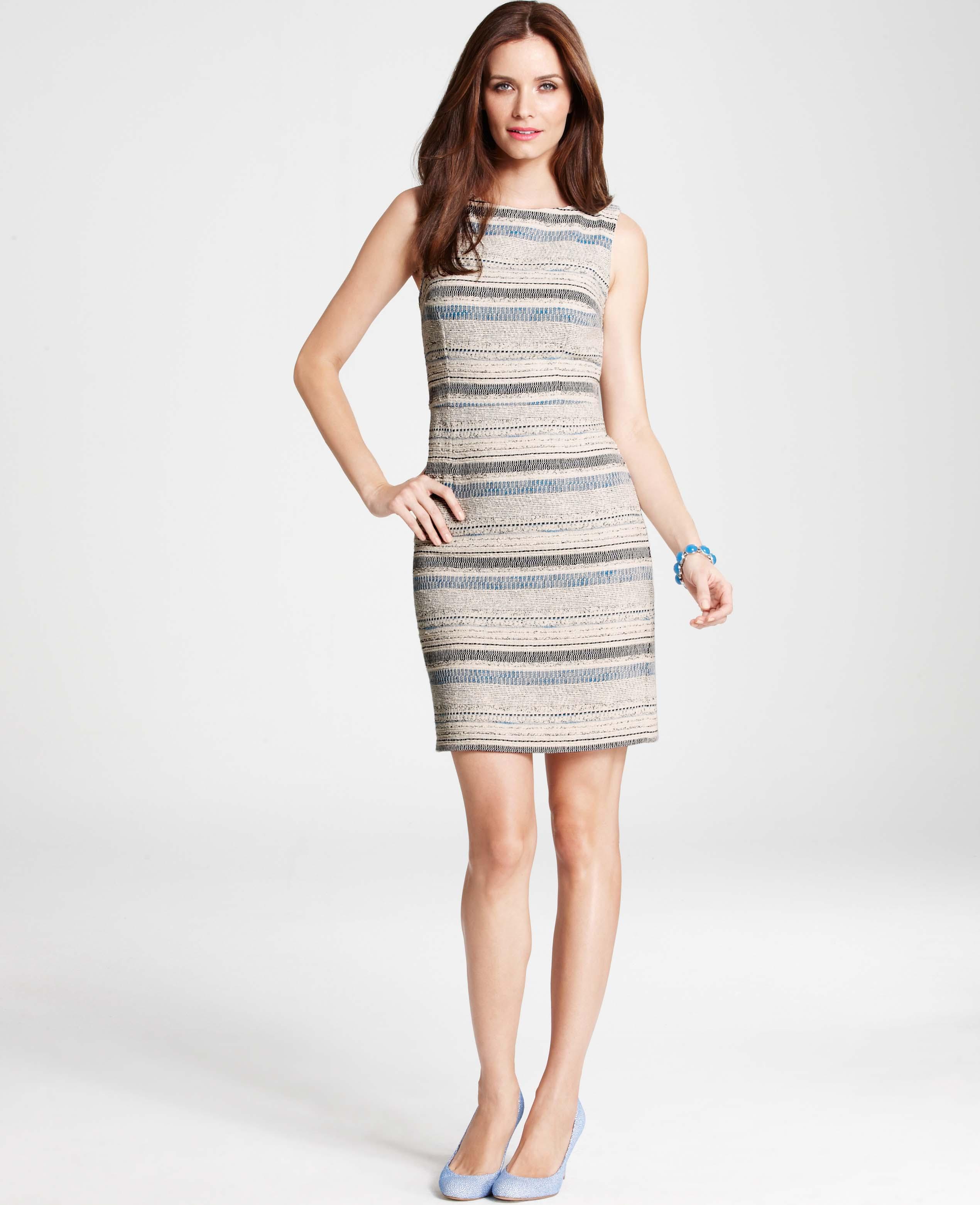 Lyst - Ann Taylor Textured Stripe Tweed Sheath Dress in Gray