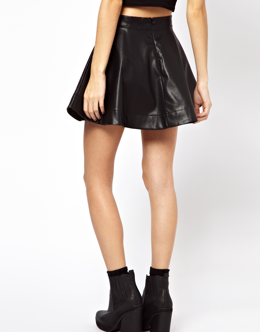 asos exclusive leather look skater skirt in black lyst