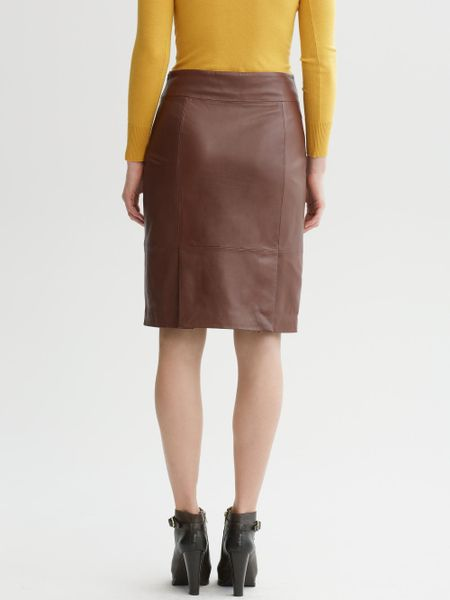 banana republic heritage leather pencil skirt in brown