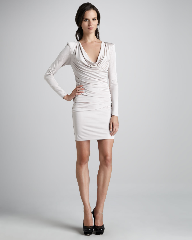 Cowl Dress: Black Halo Daphne Cowl Neck Dress In White