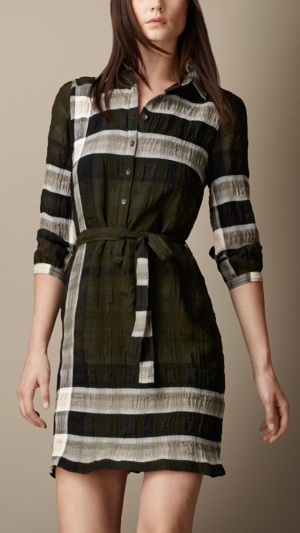 Burberry Cotton Blend Check Shirt Dress In Black Lyst