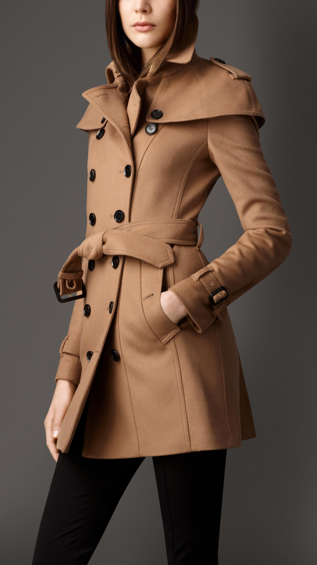 Burberry Wool Cashmere Caped Trench Coat in Brown | Lyst