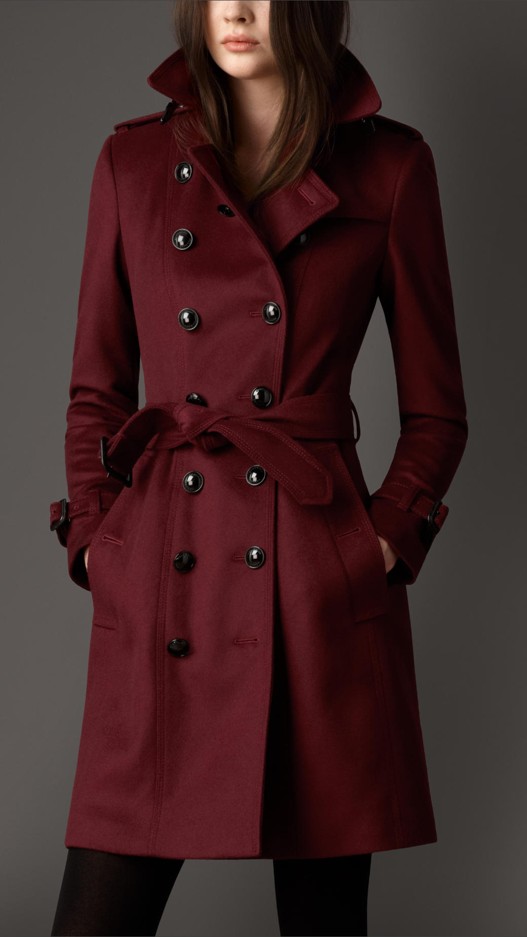 Burberry Leather Detail Wool Cashmere Trench Coat In Red