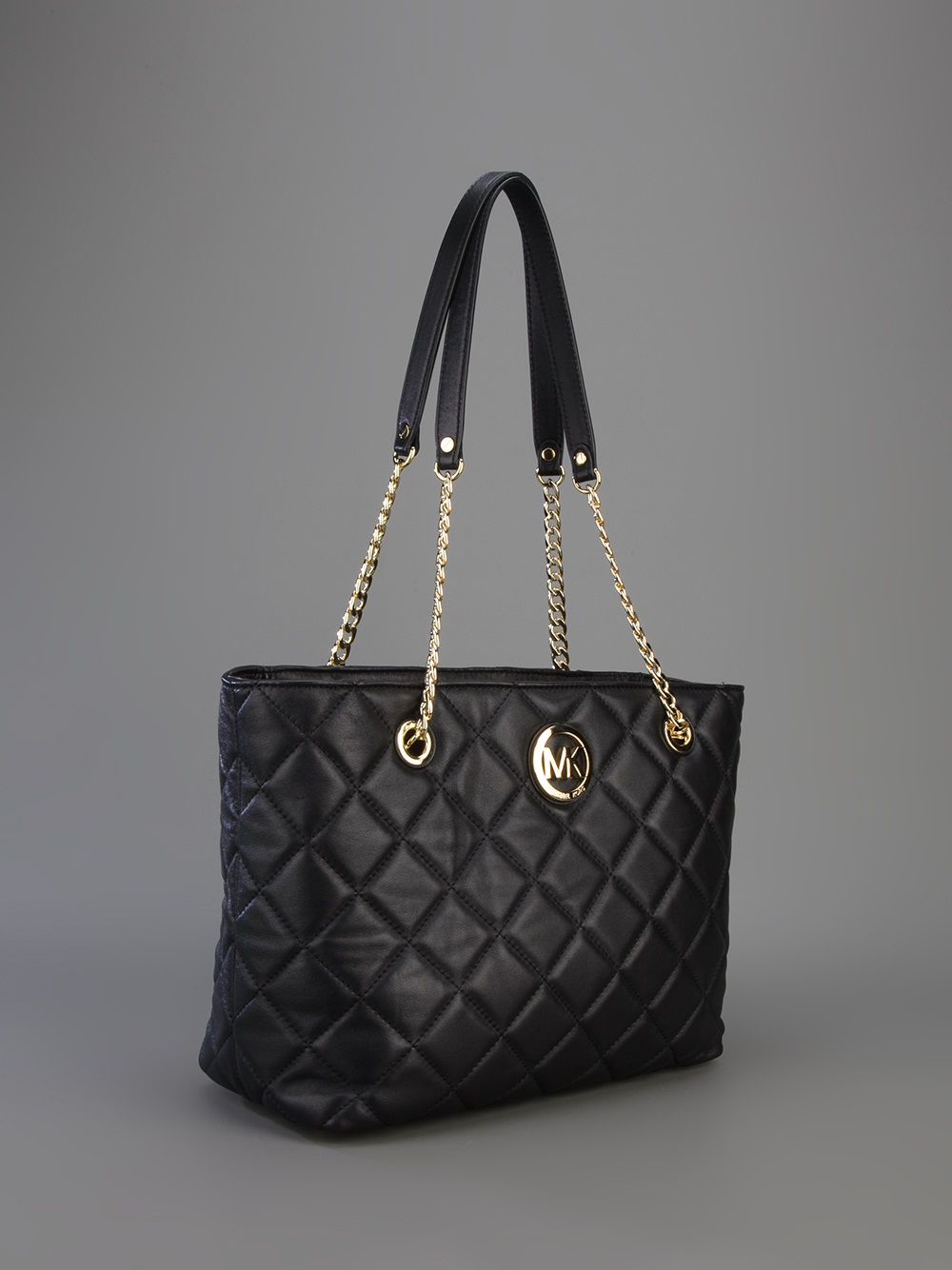 a001697134e Lyst - MICHAEL Michael Kors Fulton Large Quilted Tote in Black