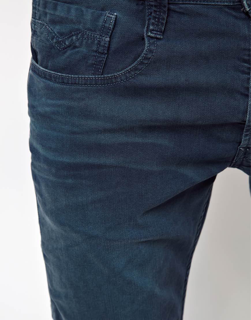 Lyst - Replay Jeans Anbass Slim Blue Overdye in Blue for Men