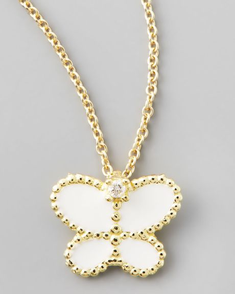 Roberto Coin Yellow Gold Diamond White Butterfly Pendant