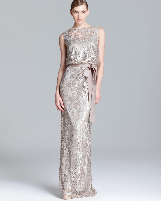 Blouson metallic short lace dress