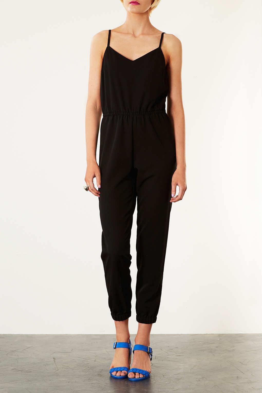 Topshop Silk Wrap Cami Jumpsuit In Black Lyst