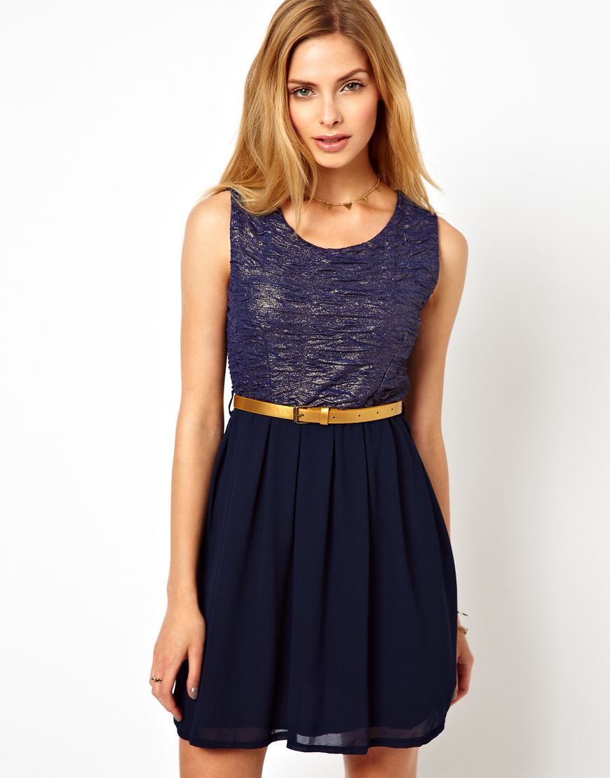 wal g metallic dress with belt in blue navy lyst