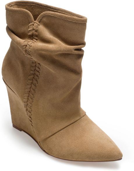 zara suede wedge ankle boot in beige sand lyst