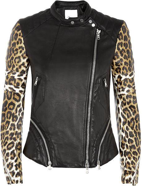 Black Zip Ties >> 3.1 Phillip Lim Leopard Print Leather Biker Jacket in ...