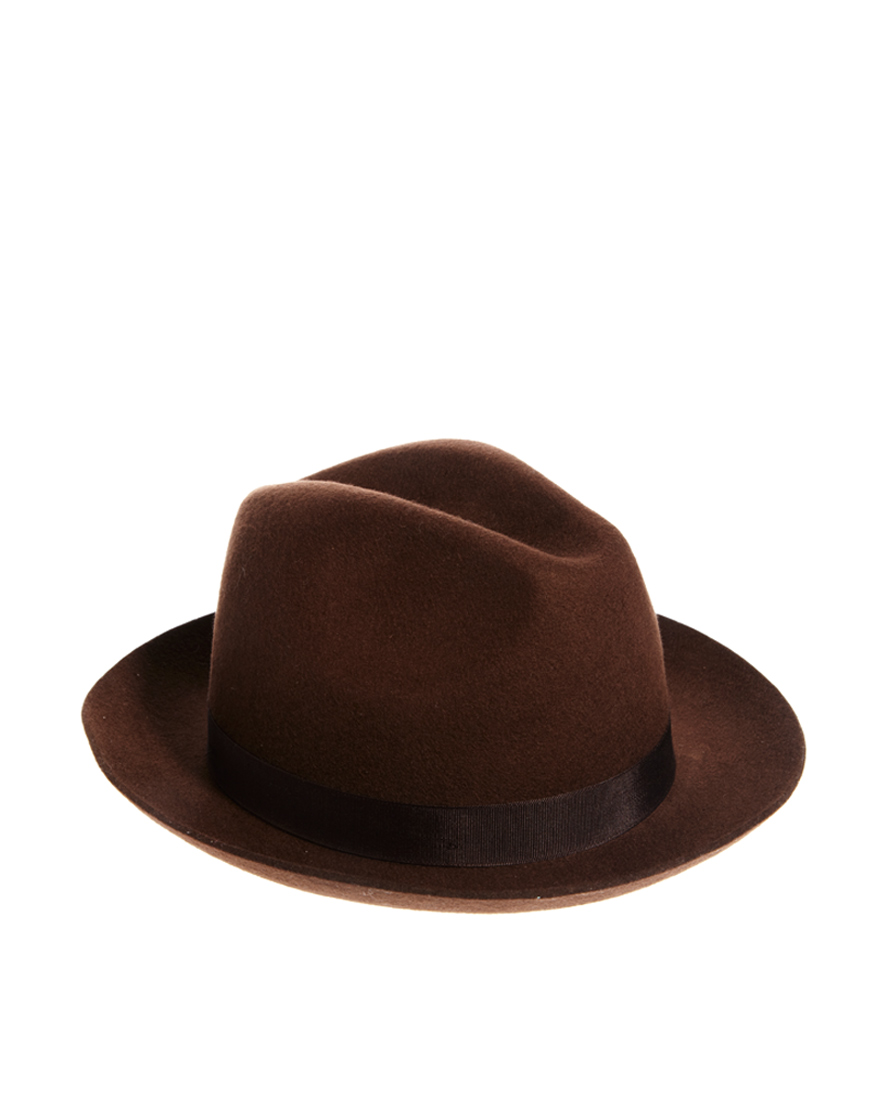 Lyst - ASOS Trilby Hat with Wide Brim in Brown for Men 63830f07aaa