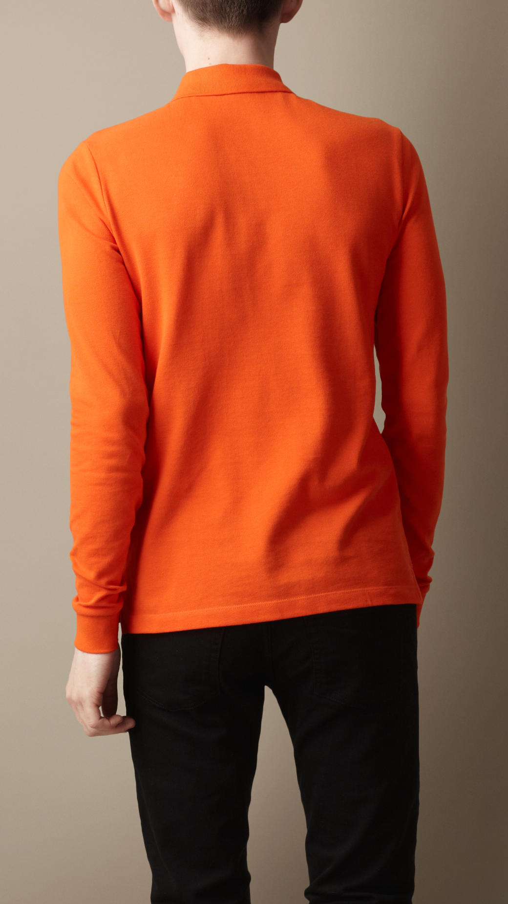 Burberry Long Sleeve Polo Shirt in Orange for Men | Lyst