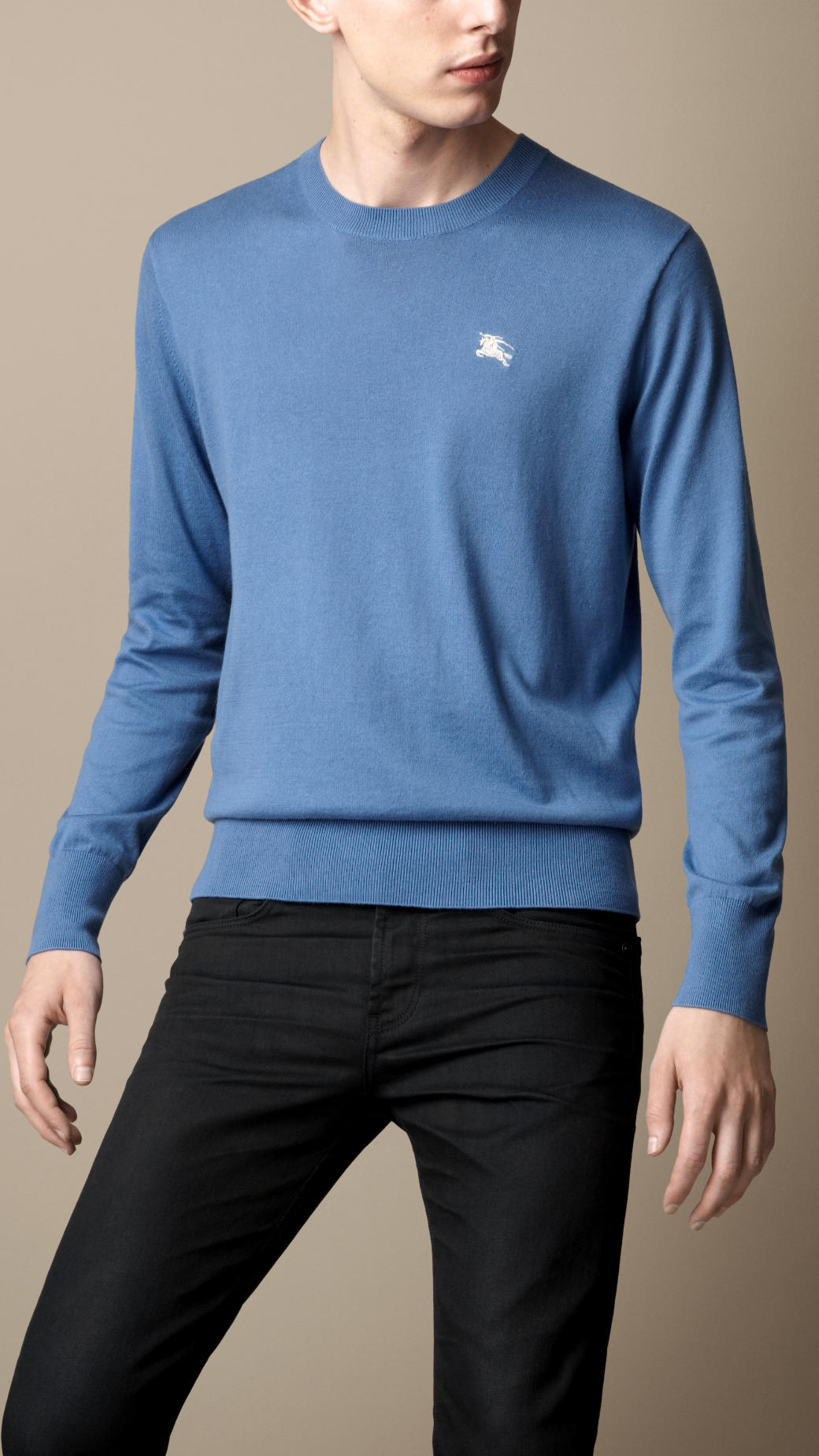 Burberry Crew Neck Cotton Sweater in Blue for Men | Lyst