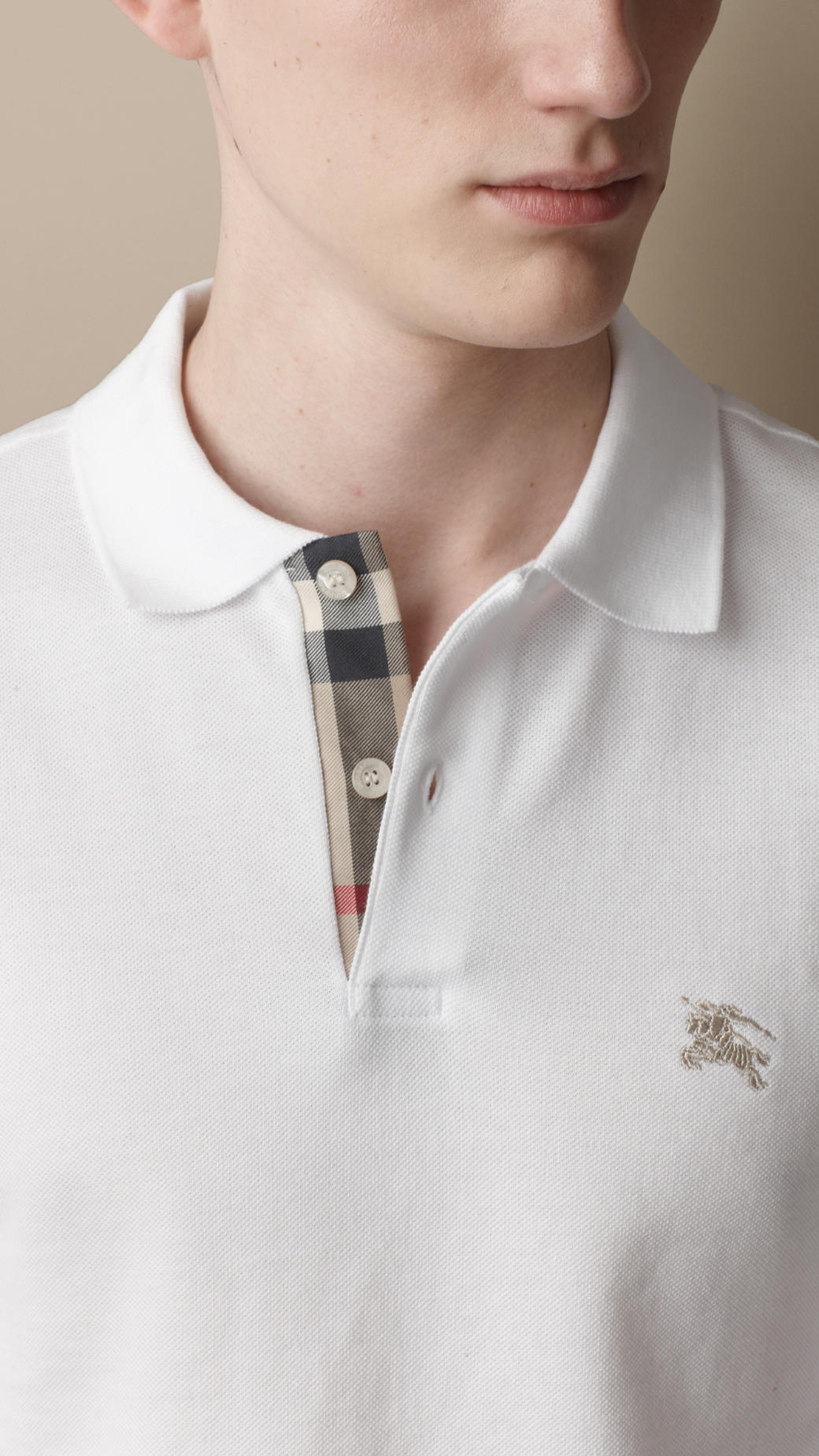 Burberry long sleeve polo shirt in white for men lyst for Mens big and tall burberry shirts