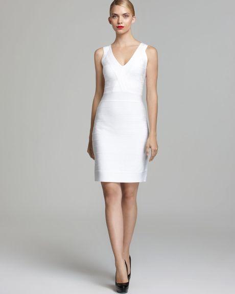 30390e0e Calvin Klein Bandage Dress V Neck Compression in White