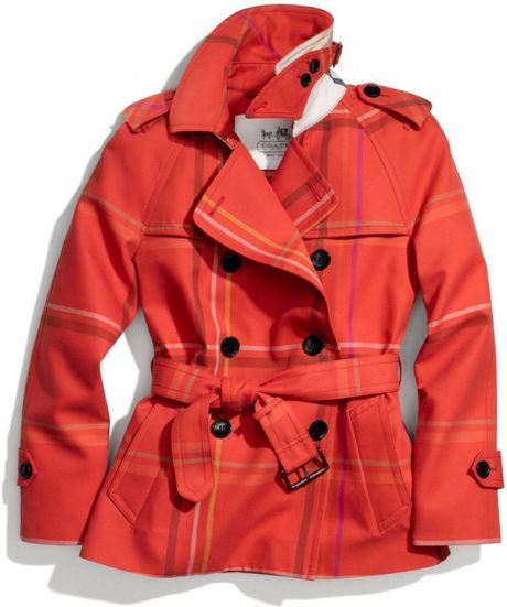 Coach Tattersall Short Trench in Red (RED/MULTICOLOR)