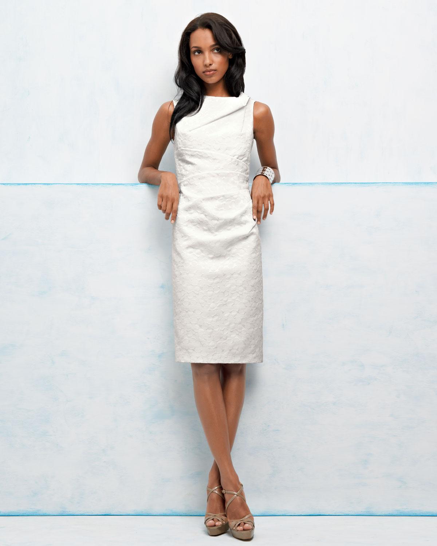 David meister Sleeveless Asymmetric-neck Sheath Dress in White   Lyst