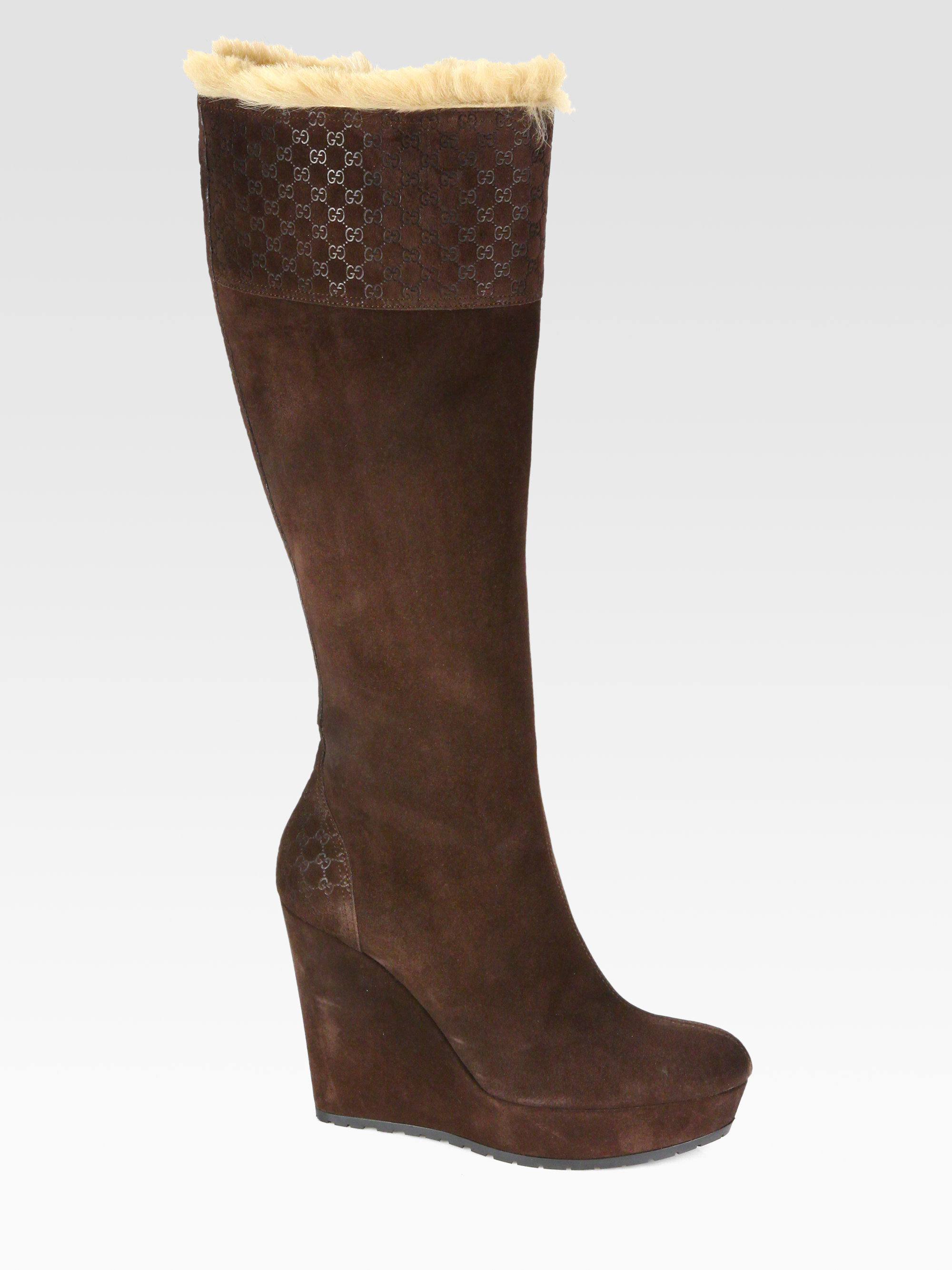 gucci courteney suede and fur wedge boots in brown lyst