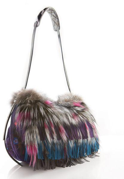 Jimmy Choo Biker Fox Fur Floral Suede Shoulder Bag In