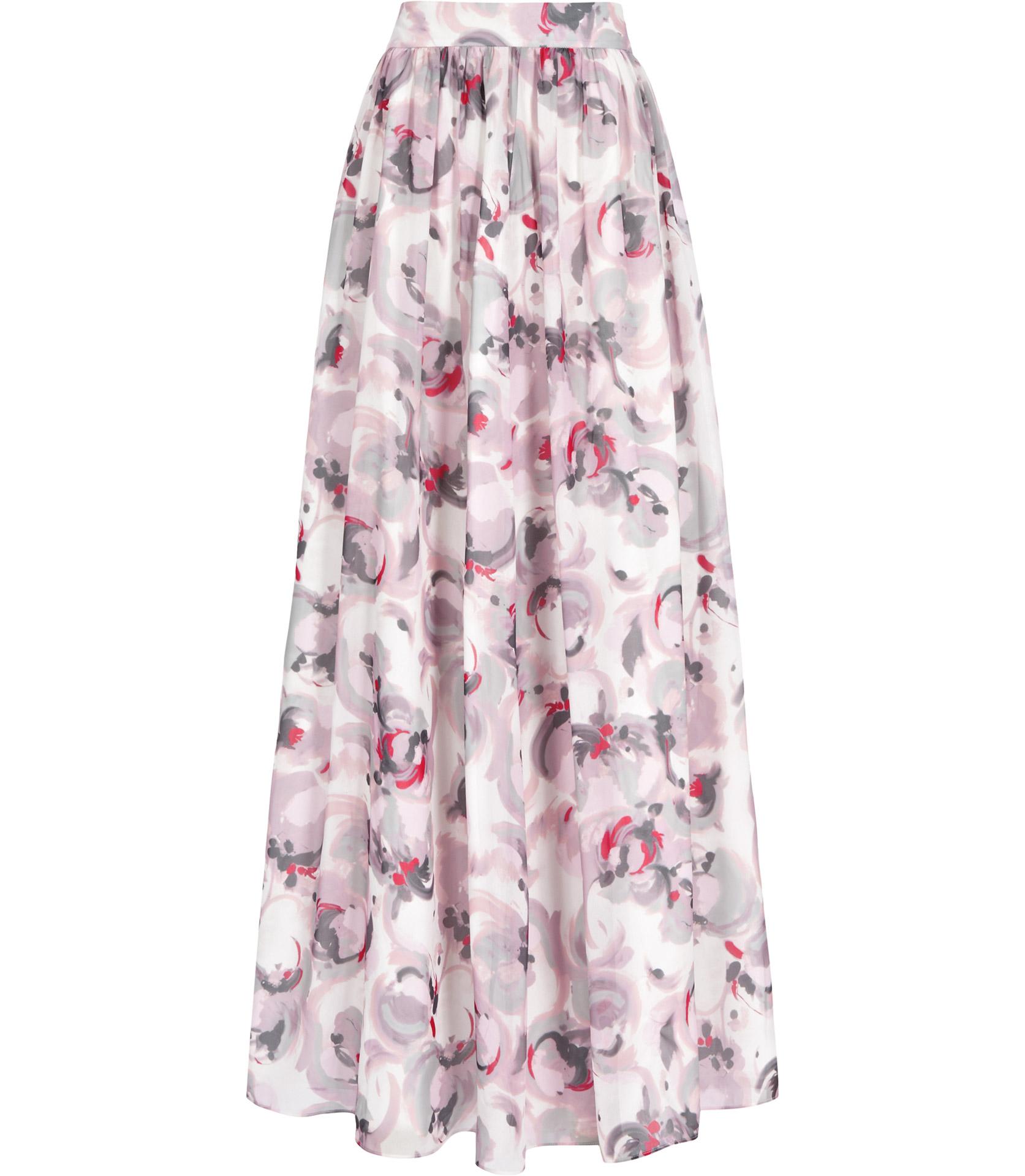 reiss maxi print floral print maxi skirt lyst