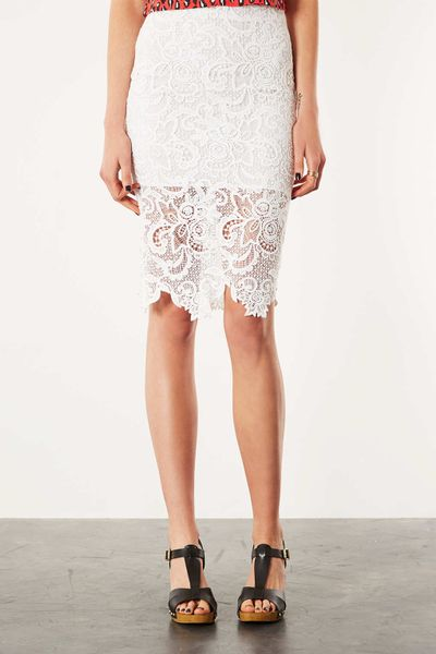Home» Skirts Knee» Plus Size Lace Pencil Skirt - White. Anne Lace Skirt - White. $ $ 4 Reviews Nothing says class and beauty like this lace skirt! You'll love the bold yet elegant lace design and stretch lining to keep you covered. This skirt also features an elastic waist and is a .