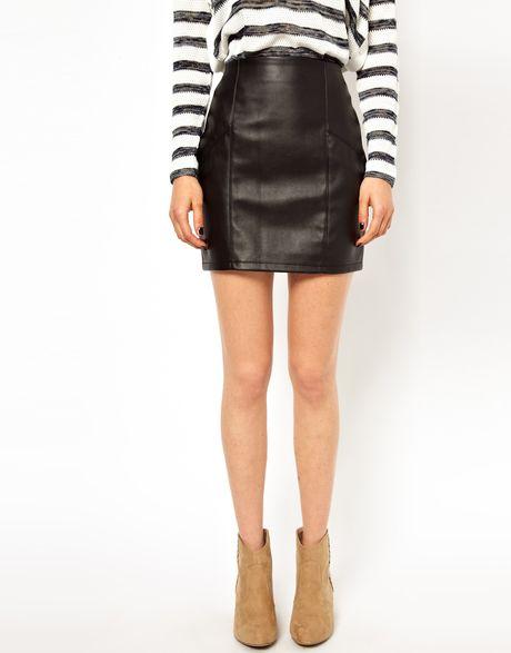 asos mini skirt in leather look in black lyst
