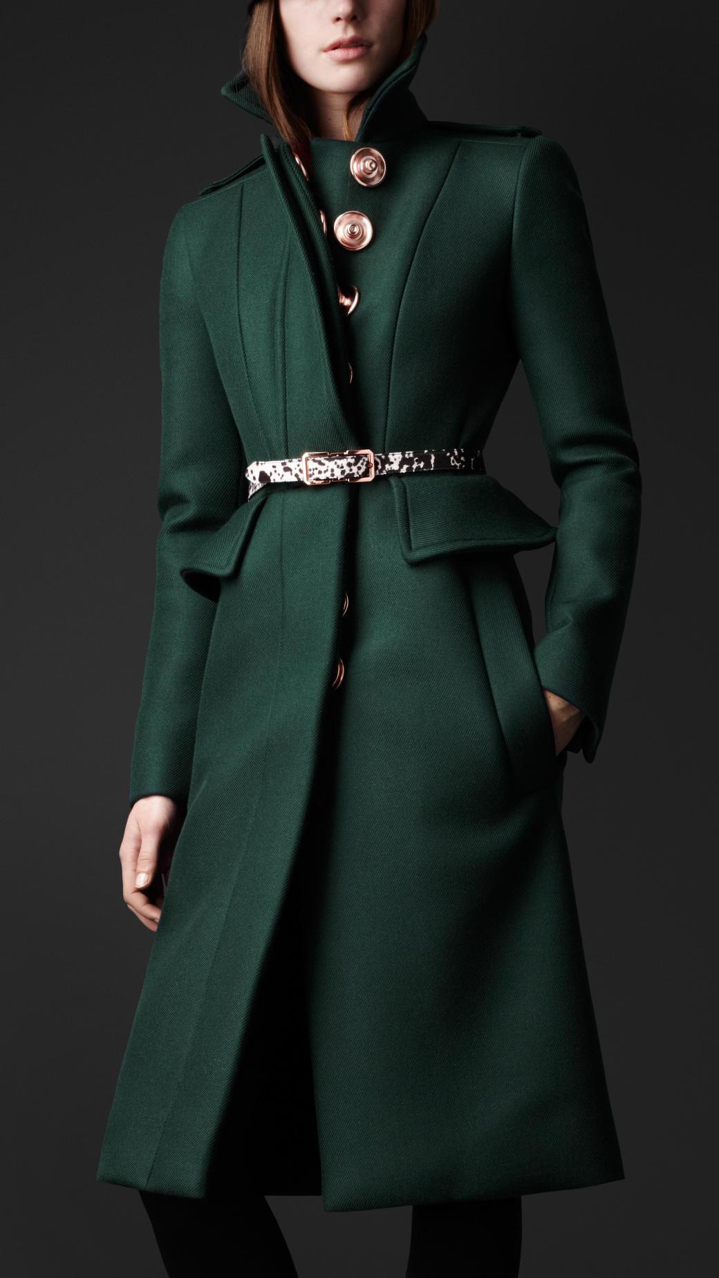 Lyst Burberry Wool Twill Peplum Coat In Green